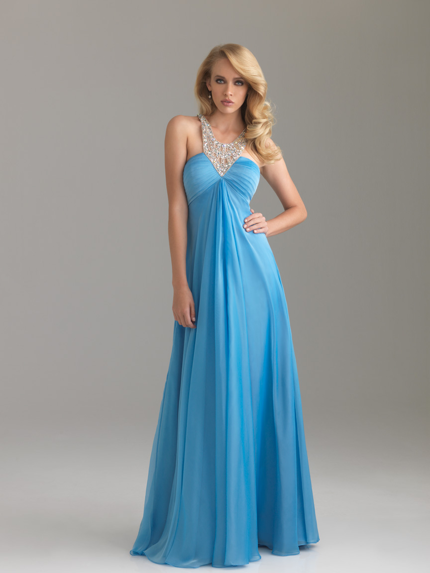 Light Blue Empire Halter Cross Back Sweep Train Floor Length Chiffon Evening Dresses With Beading