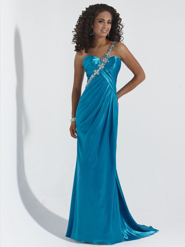 Teal Empire One Shoulder Low Back Sweep Train Pleats Beading Floor Length Evening Dresses