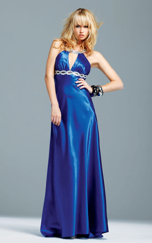 Blue Empire Scoop Open Back Sweep Train Sequined Floor Length Evening Dresses