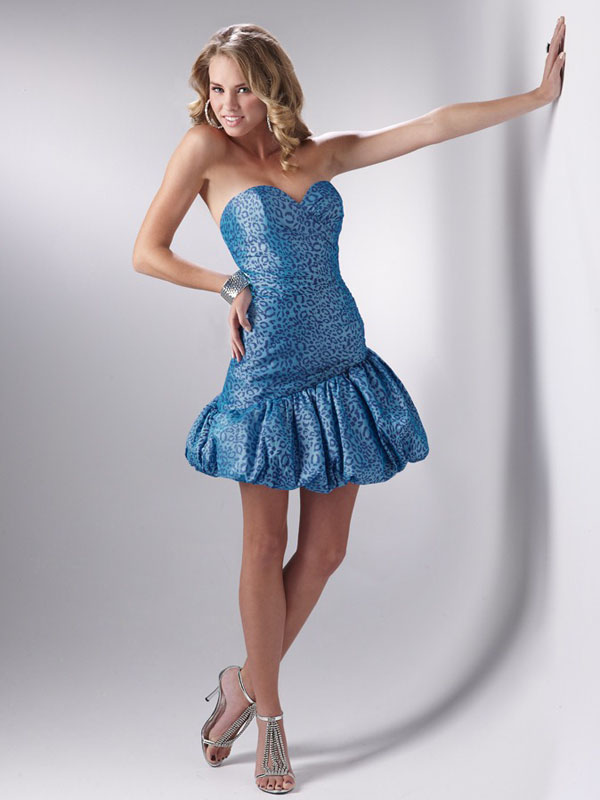 Leopard Printed Blue Empire Strapless Sweetheart Lace Up Short Mini Cocktail Dresses
