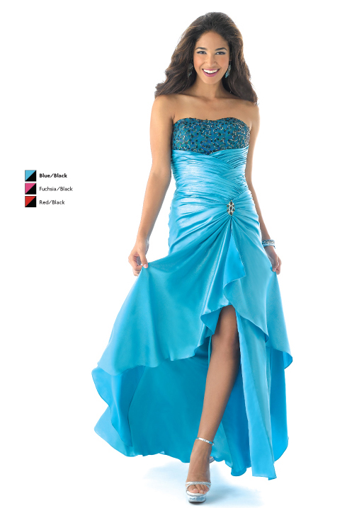 Blue Mermaid Strapless Lace Up High Low Satin Prom Dresses With Beading And Drapes