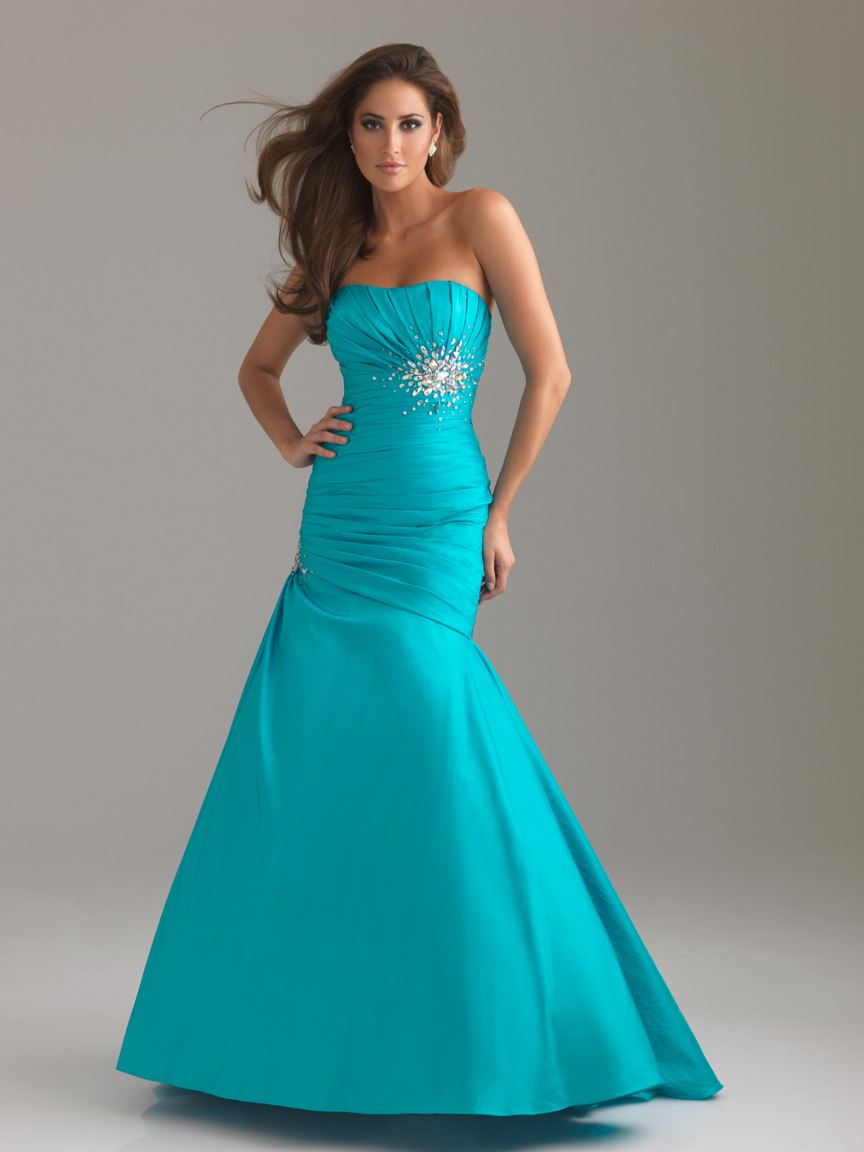 Blue Mermaid Strapless Full Length Zipper Satin Prom Dresses With Ruffles And Brooch