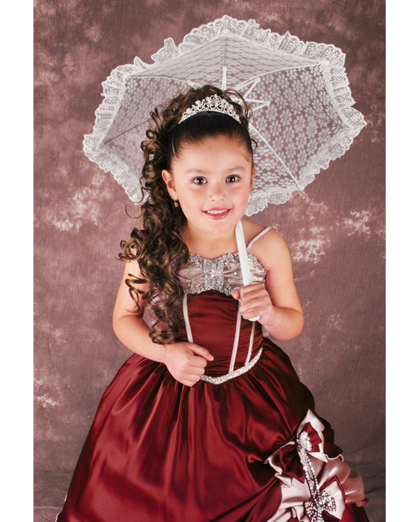 Burgundy Ball Gown Spaghetti Straps Lace Up Full Length Flower Girl Dresses With Beading And Bownots