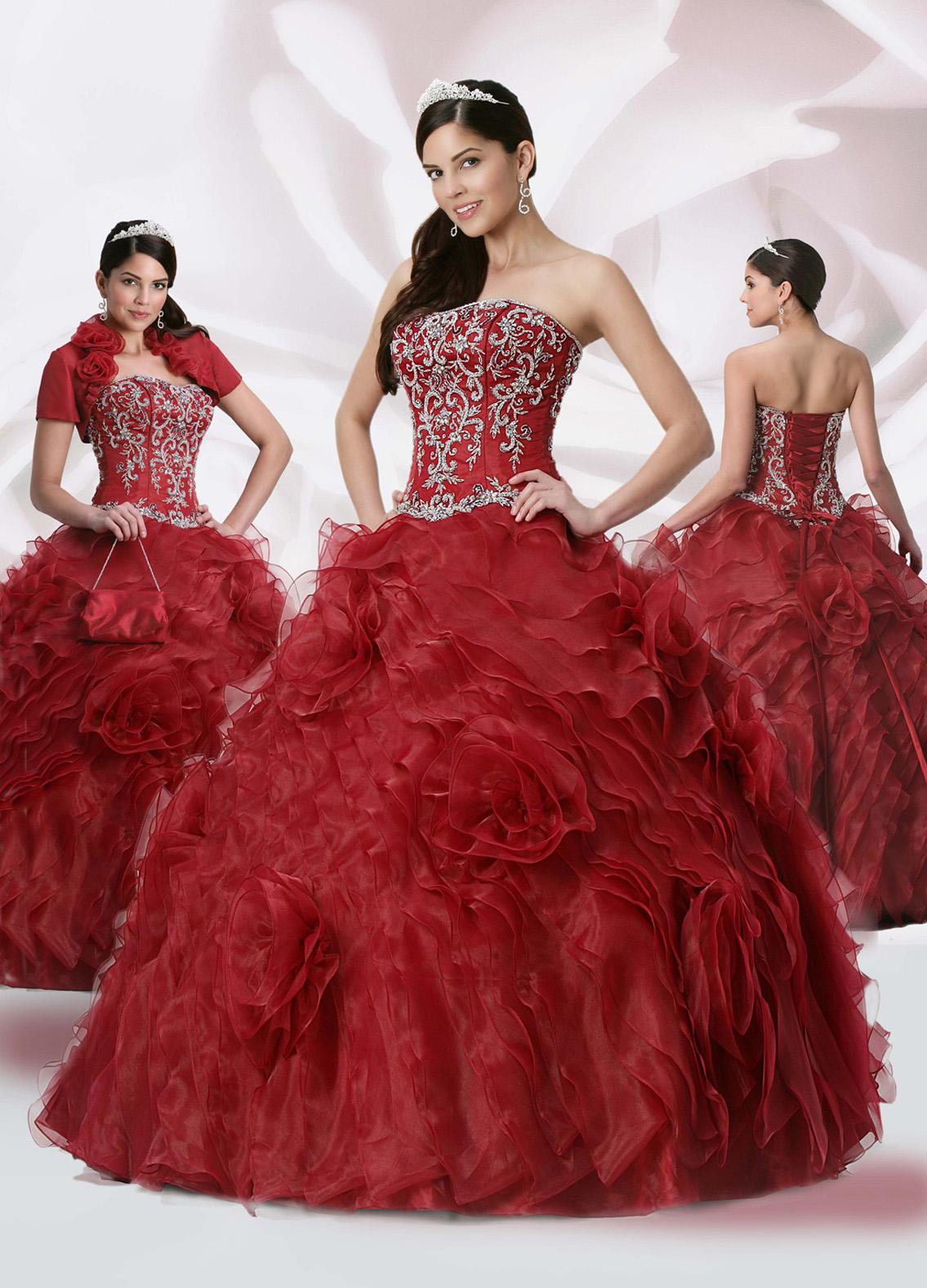 Burgundy Ball Gown Strapless Sweetheart Lace Up Floor Length Embroidered And Ruffled Quinceanera Dresses