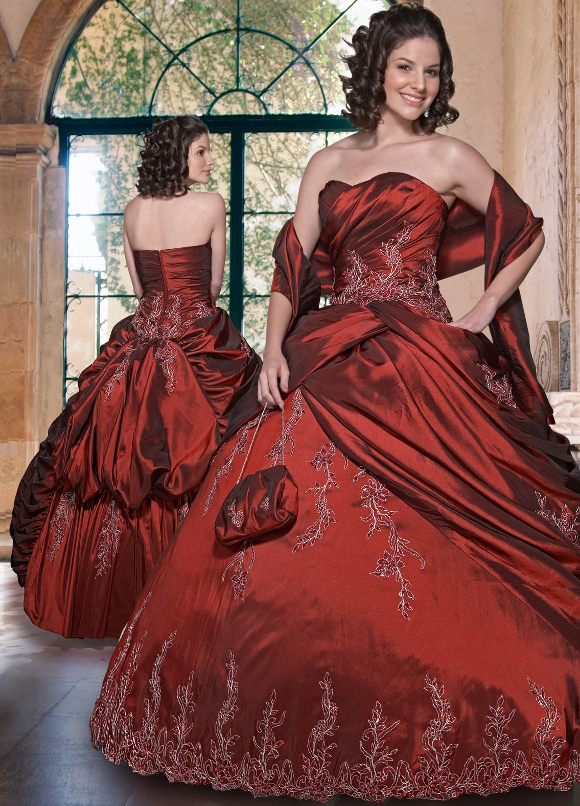 Burgundy Ball Gown Strapless Sweetheart Zipper Floor Length Quinceanera Dresses With Beading Embroidery And Ruffles