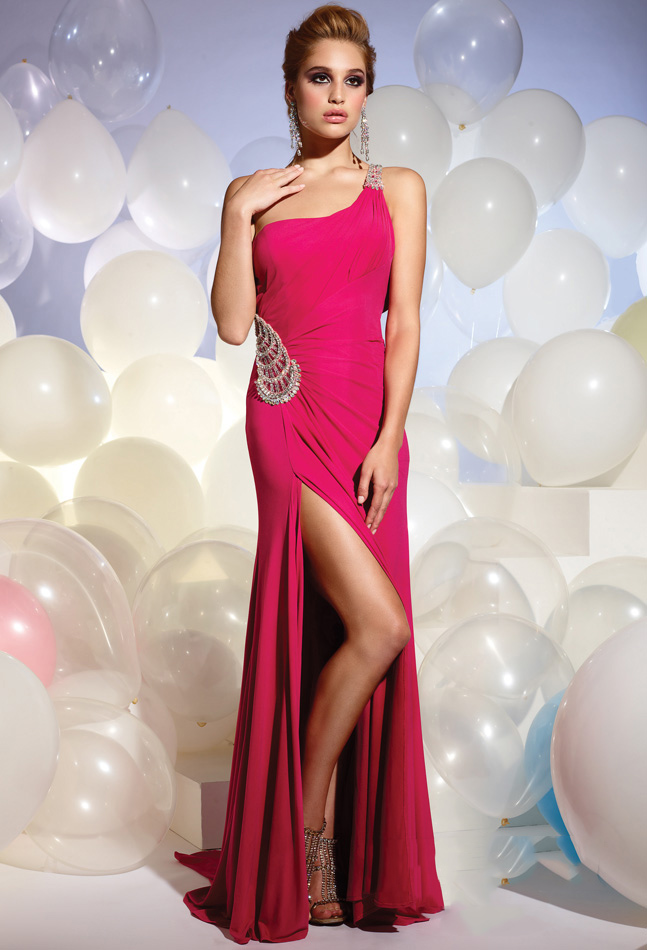 Fuchsia Column One Shoulder Floor Length High Slit Sweep Brush Train Chiffon Evening Dresses