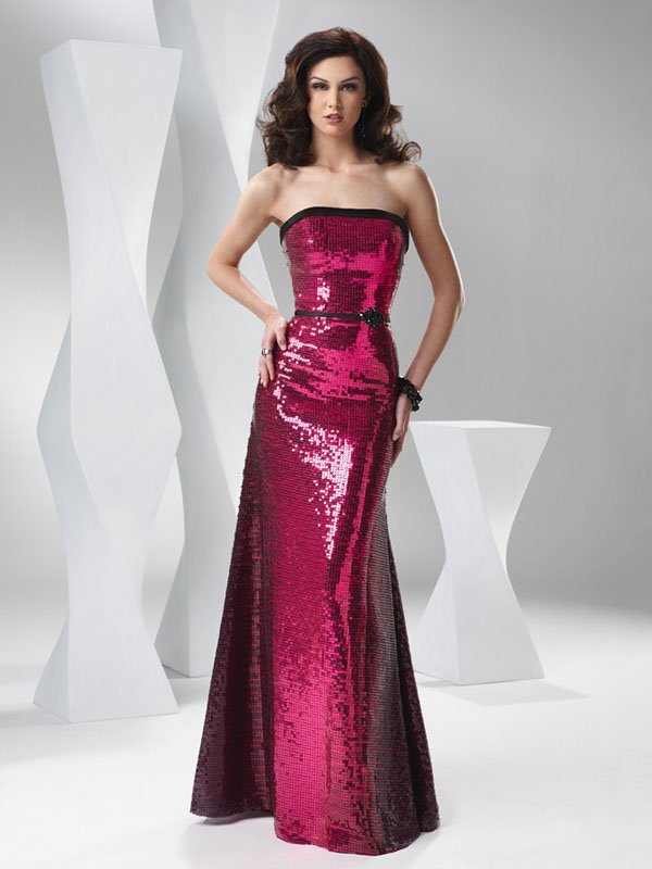 Burgundy Mermaid Strapless Floor Length Sequined Evening Dresses With Black Sash