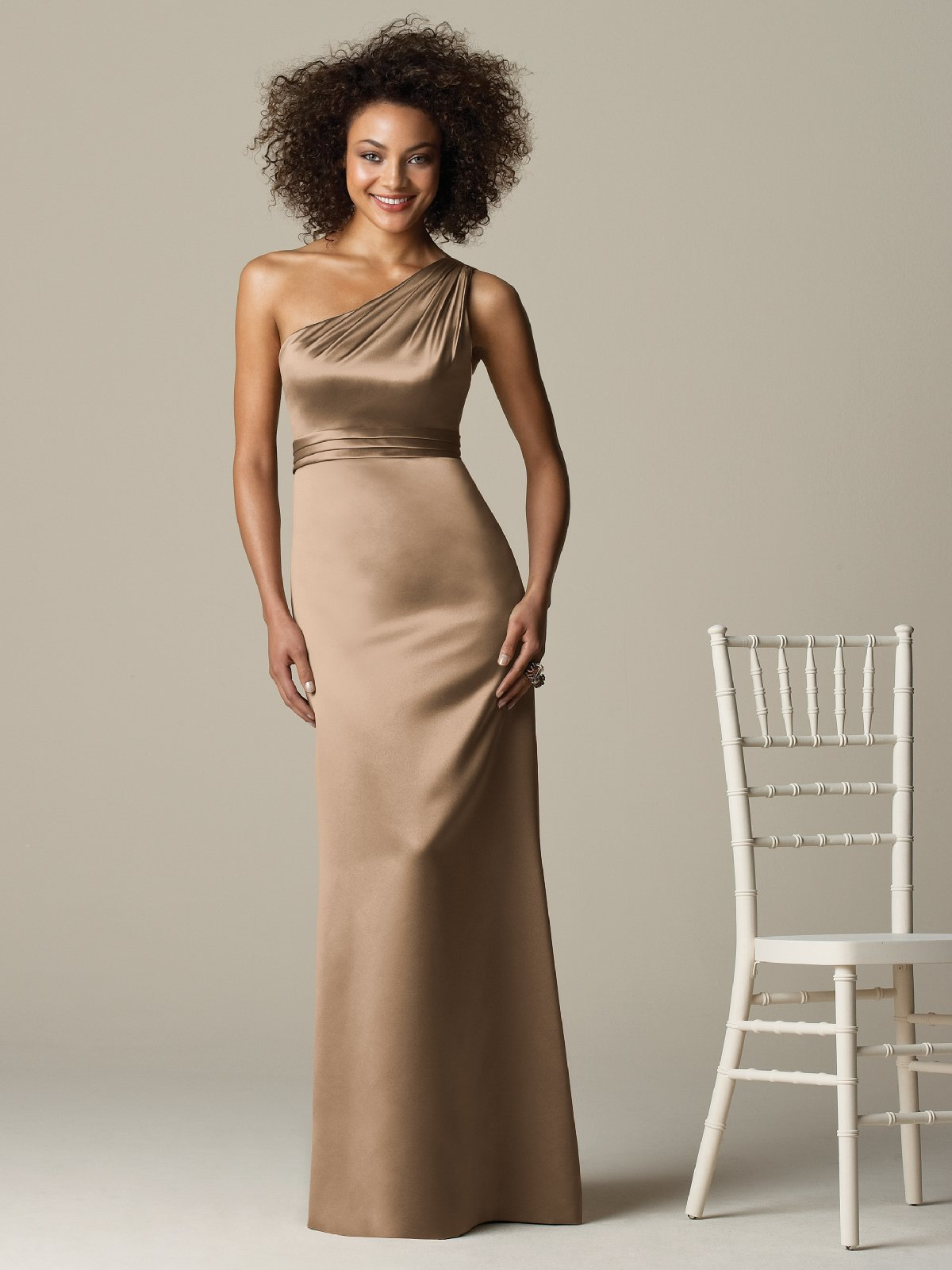 Champagne Column One Shoulder Zipper Floor Length Satin Prom Dresses With Draped Waist