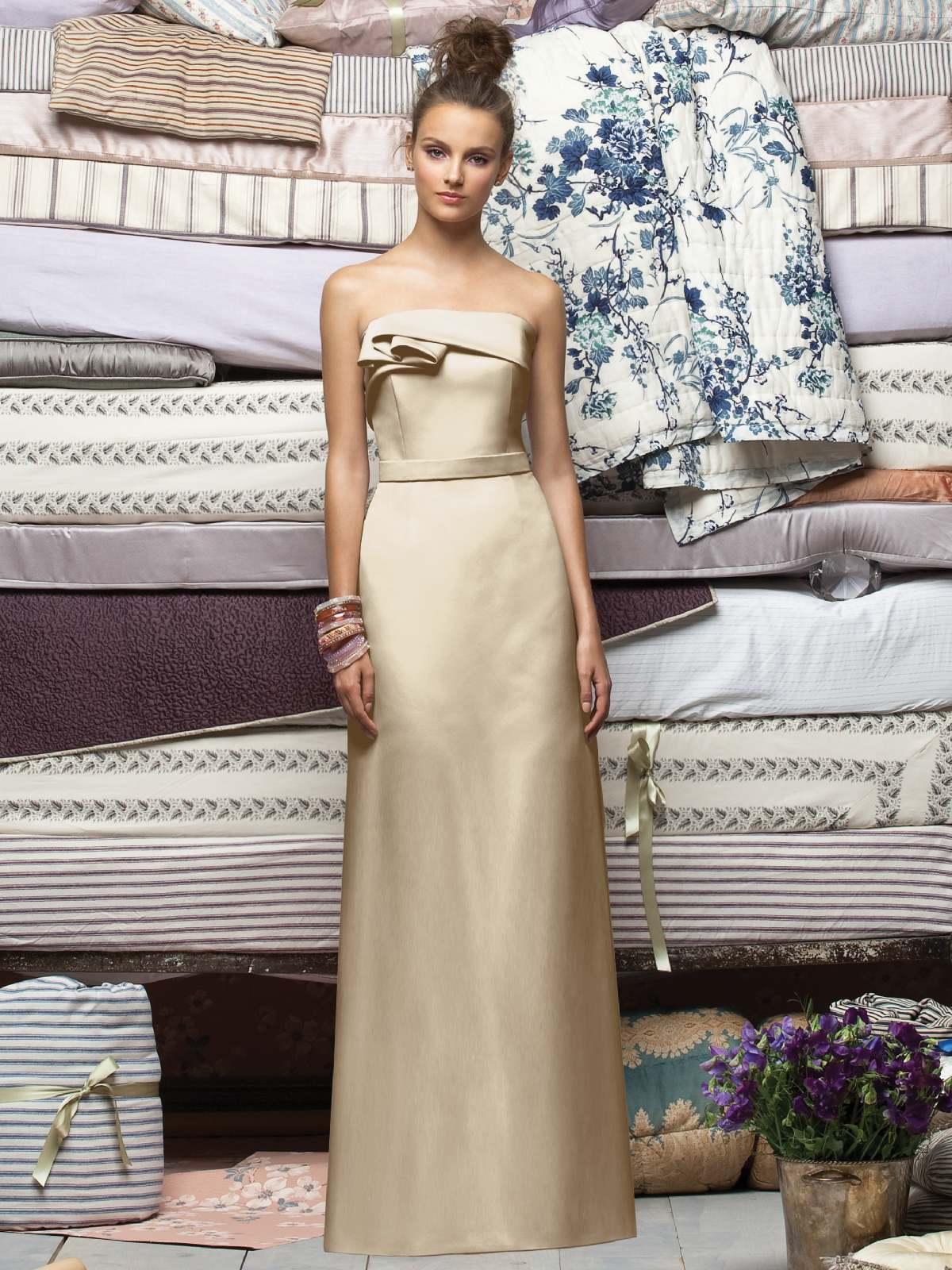 6afa0ab9421 Champagne Column Strapless Zipper Floor Length Satin Prom Dresses With Blet