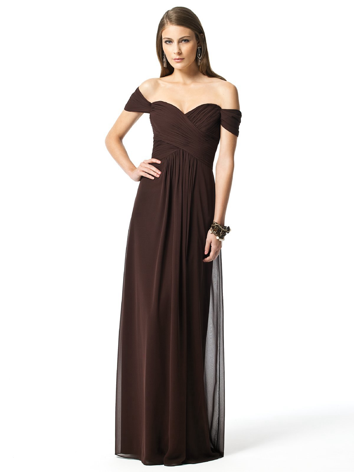 Chocolate Column Off The Shoulder And Sweetheart Zipper Pleats Floor Length Chiffon Prom Dresses