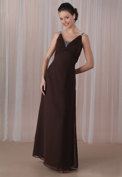 Chocolate Empire Scoop And Strap Low Back Beadings Floor Length Chiffon Prom Dresses