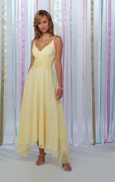Daffodil A Line Deep V Neck And Spaghetti Straps Low Back Drapes Ankle Length Chiffon Prom Dresses