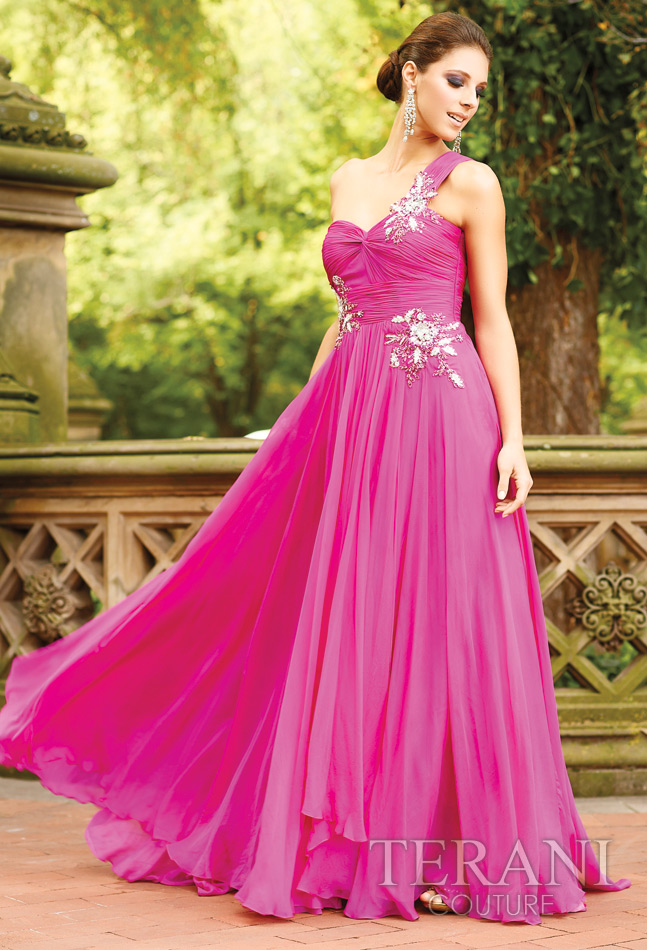 Fuchsia A Line One Shoulder Floor Length Pleated Evening Dresses With Beading Appliques