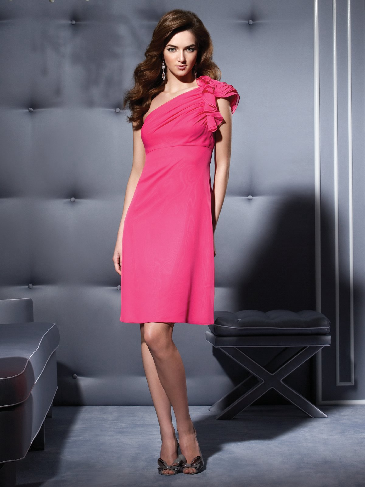 Fuchsia A Line One Shoulder Zipper Knee Length Chiffon Prom Dresses With Ruffles