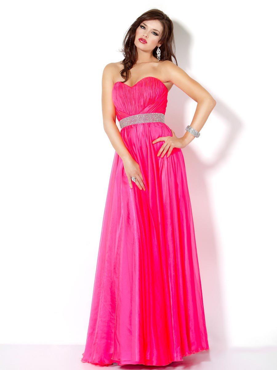Fuchsia A Line Strapless Sweetheart Zipper Beading Floor Length Evening Dresses