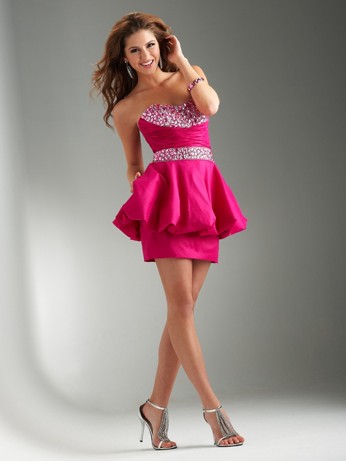 Fuchsia A Line Strapless Sweetheart Lace Up Short Mini Homecoming Dresses With Beadings