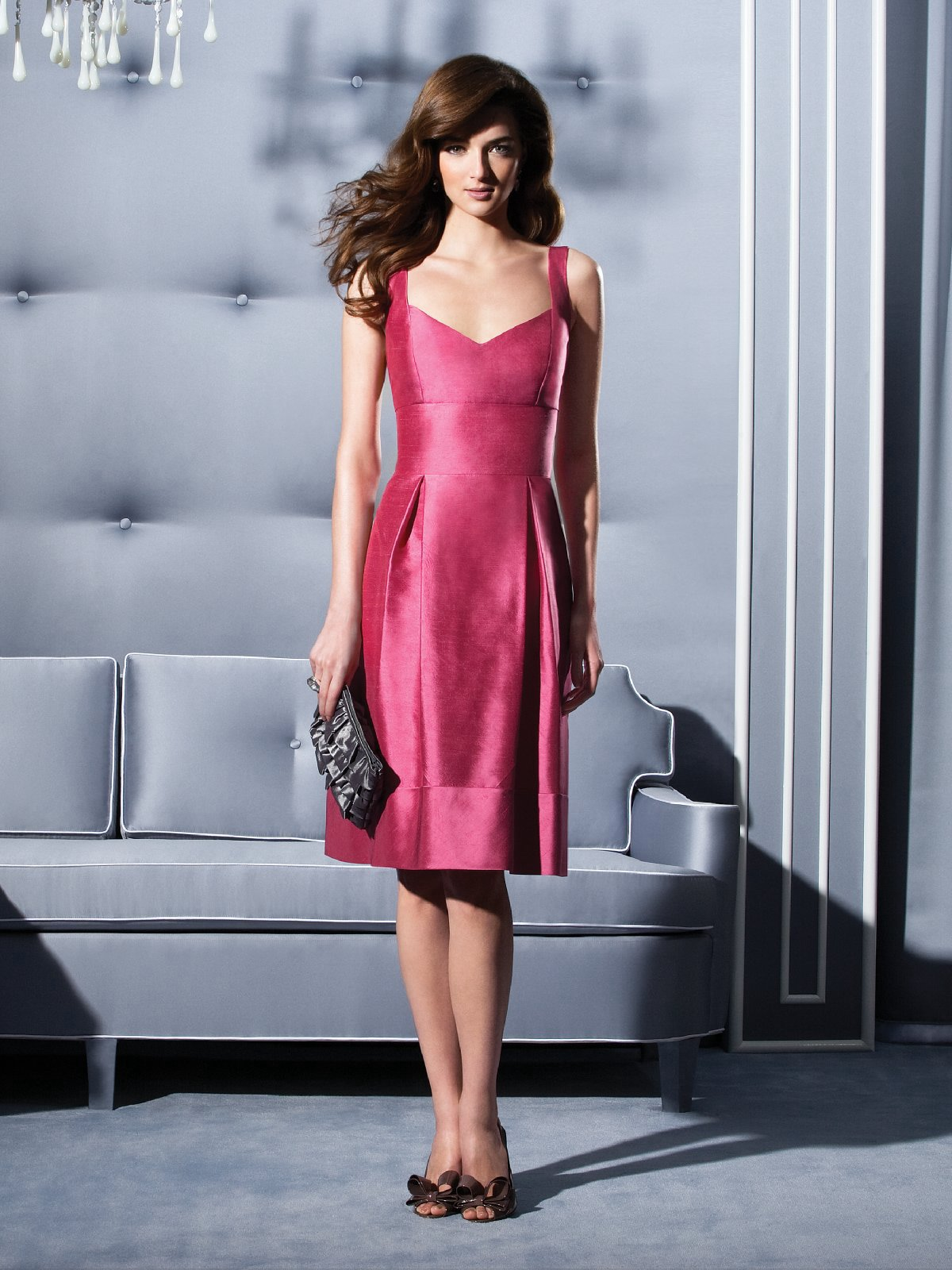 Fuchsia A Line V Neck And Strap Low Back Knee Length Satin Prom Dresses