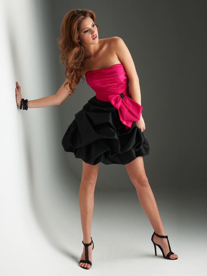 Fuchsia And Black A Line Strapless Lace Up Ruched Short Mini Homecoming Dresses With Bowknot