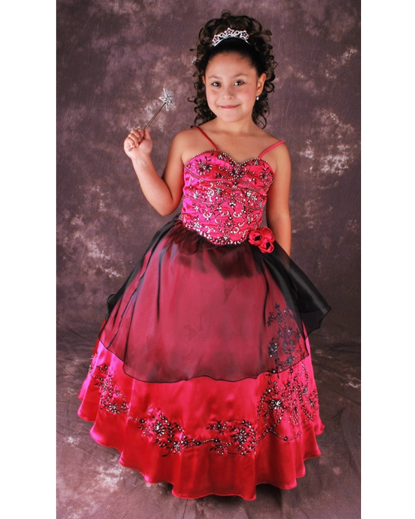 c8773bc18fa Magenta Ball Gown Spaghetti Straps Lace Up Floor Length Flower Girl Dresses  With Black Embroidery And