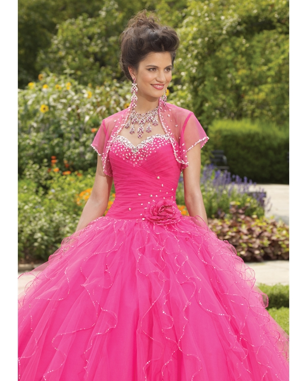 Fuchsia Ball Gown Strapless Sweetheart Lace Up Full Length Sequined Quinceanera Dresses With Flowers And Ruffles
