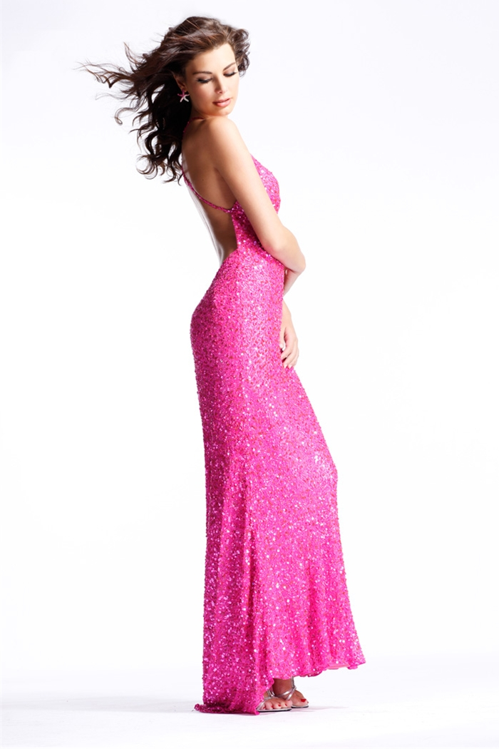 Fuchsia Column Spaghetti Straps Cross Back Sweep Train Ankle Length Sequined Evening Dresses