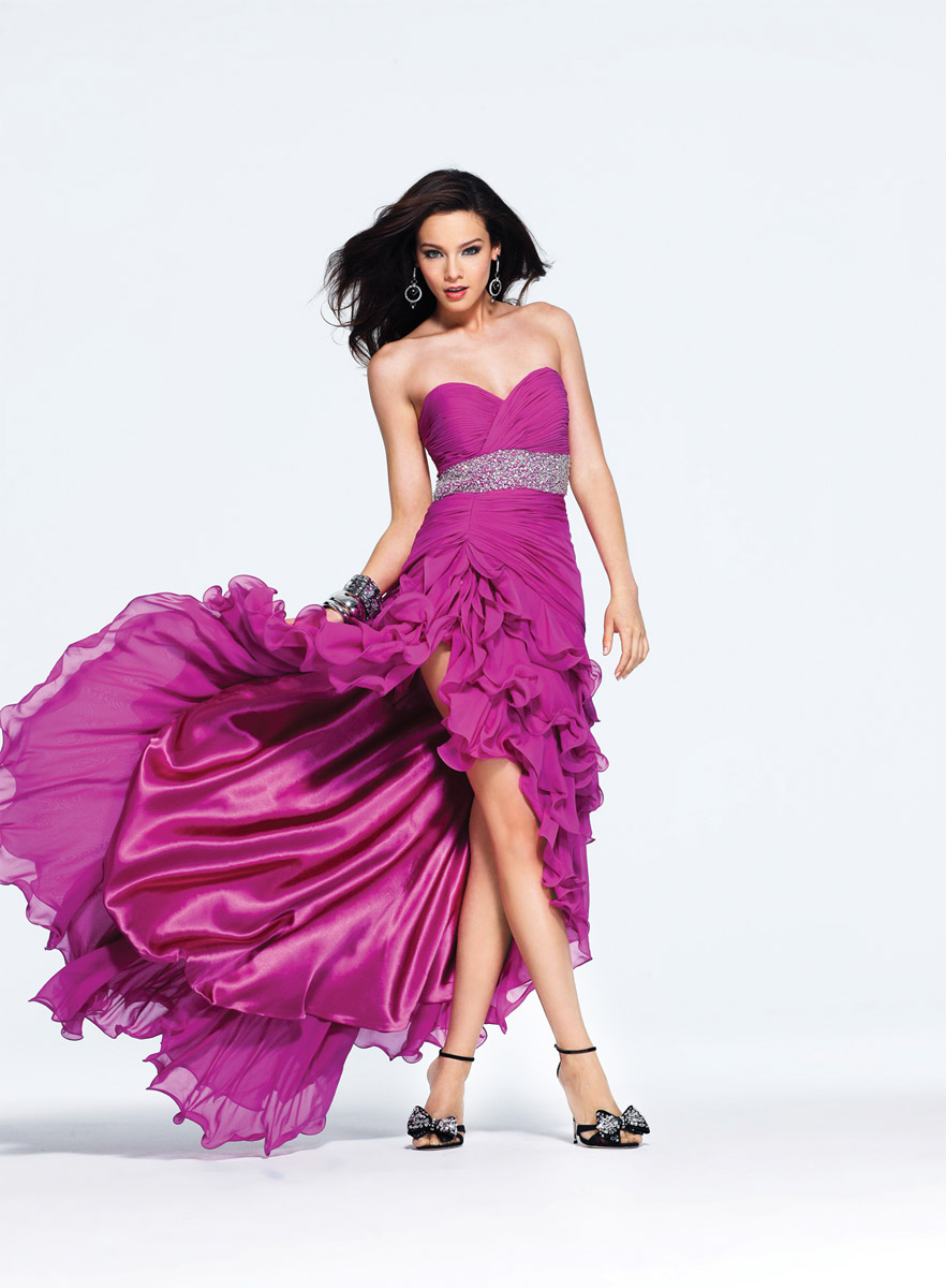 Fuchsia Empire Strapless Sweetheart Open Back Ruches High Low Evening Dresses With Beading Belt