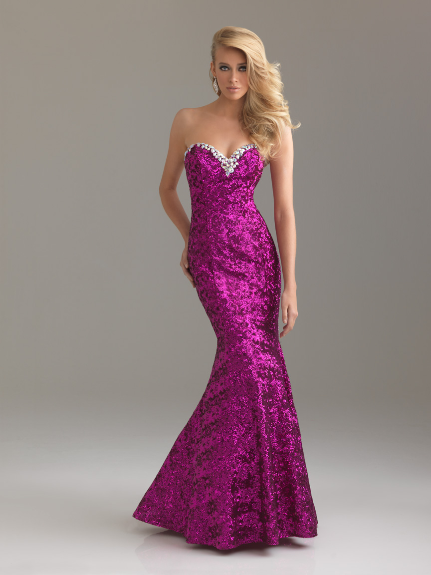 Fuchsia Mermaid Sweetheart Full Length Zipper Sequined Prom Dresses With Beading