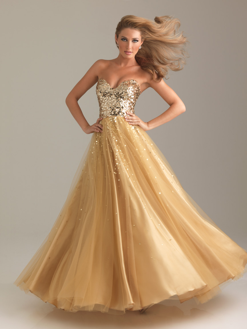 Gold A Line Sweetheart Strapless Zipper Floor Length Sequined Graduation Dresses