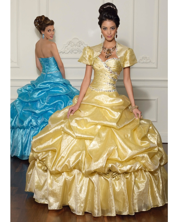 Gold Ball Gown Strapless Sweetheart Lace Up Full Length Quinceanera Dresses With Jewel And Ruffles