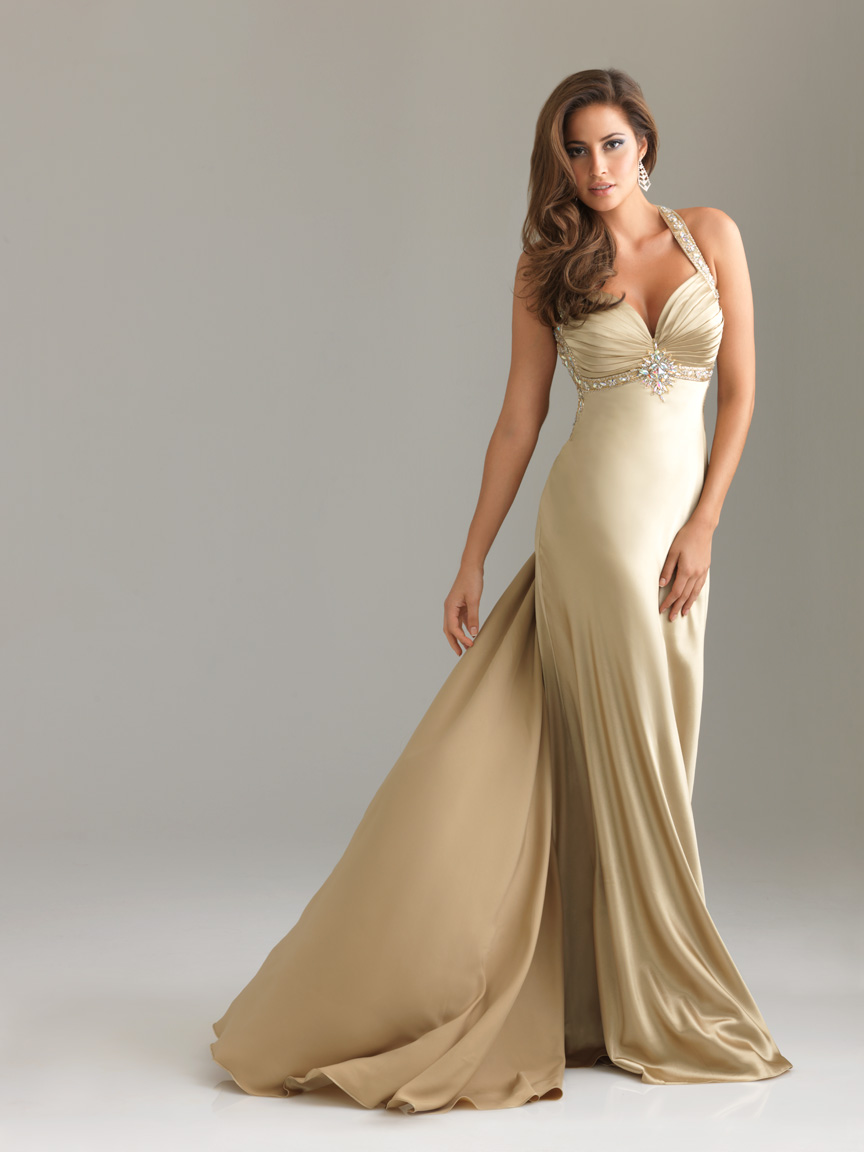 Gold Column Halter And Sweetheart Backless Sweep Train Beading Floor Length Satin Evening Dresses