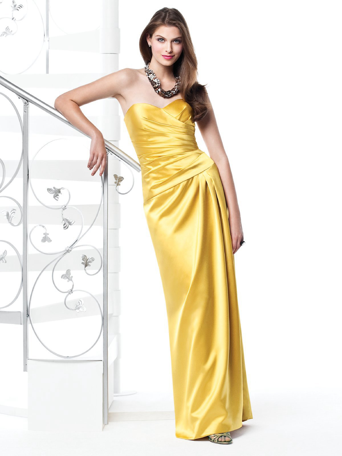 Gold Column Sweetheart And Strapless Zipper Ruffled Floor Length Satin Prom Dresses