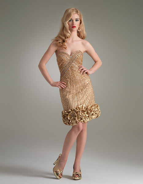 Gold Column Strapless Sweetheart Knee Length Zipper Beaded Cocktail Dresses With Flowers