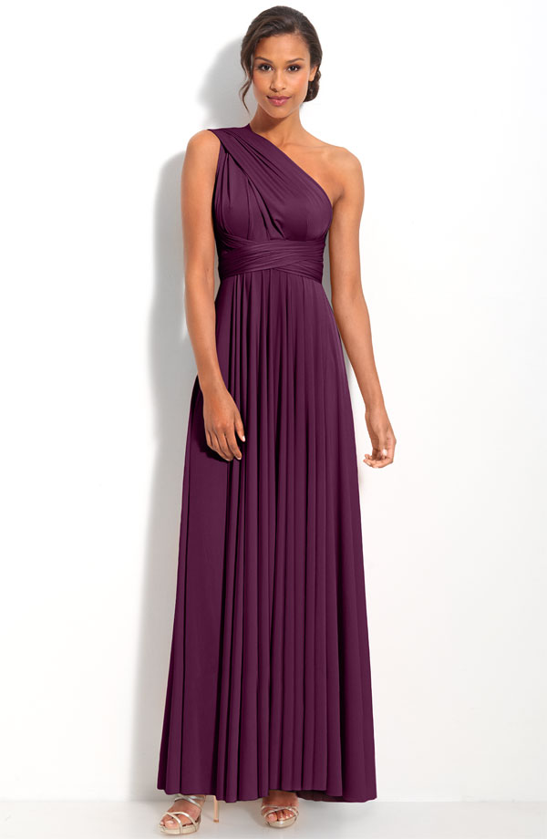 Grape Column One Shoulder Open Back Ankle Length Pleated Prom Dresses