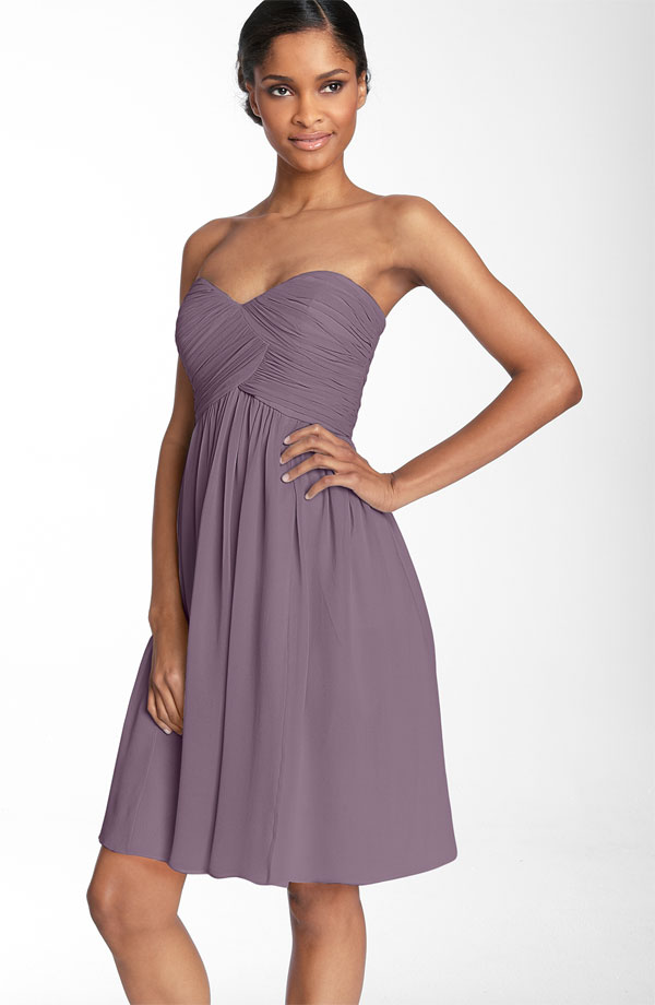 Grape Empire Strapless Sweetheart Zipper Knee Length Draped Chiffon Prom Dresses