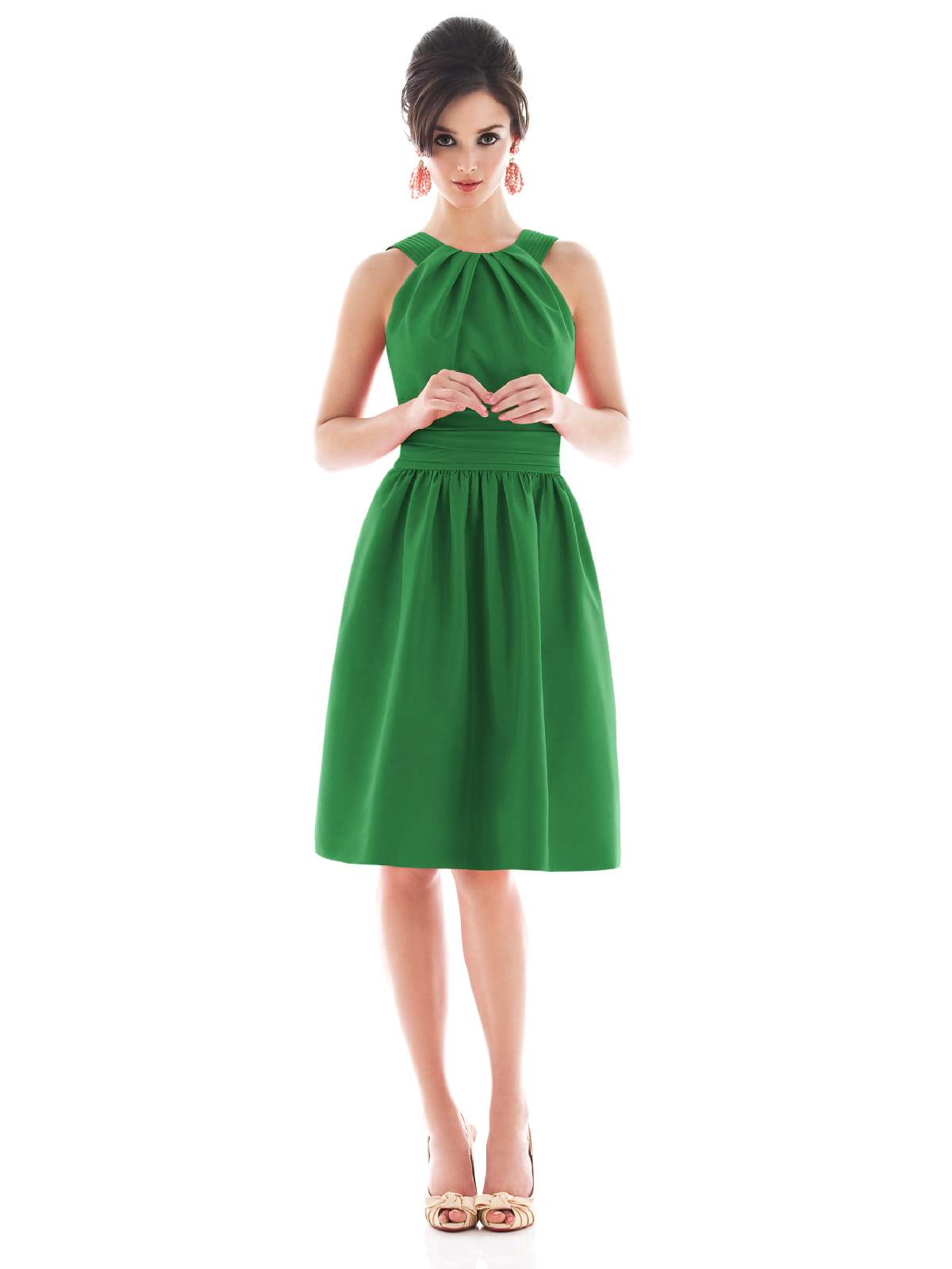 Green A Line Jewel And Sleeveless Zipper Knee Length Prom Dresses With Twist Drapes