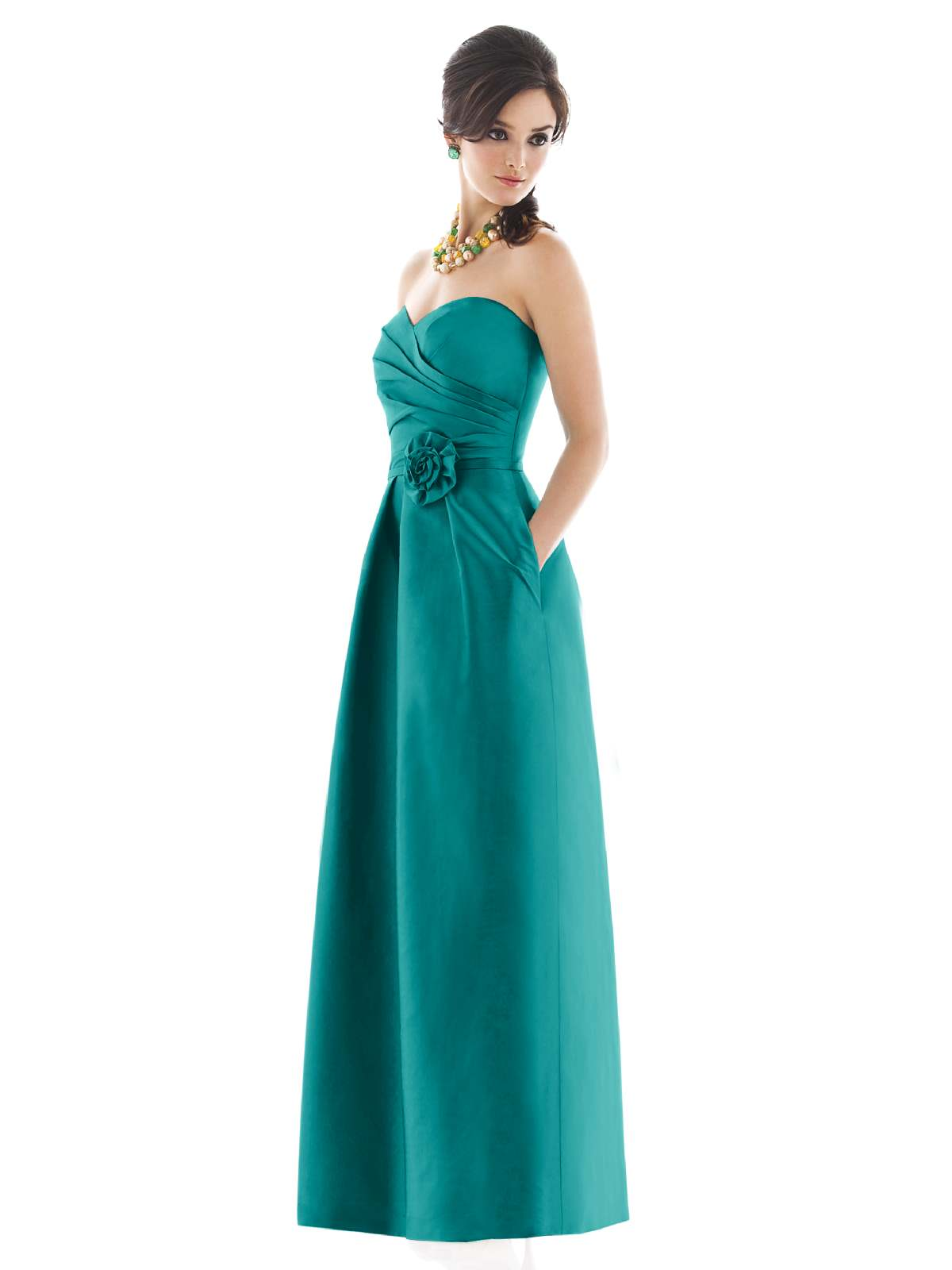 Teal A Line Strapless Sweetheart Zipper Floor Length Satin Prom Dresses With Drapes And Flowers
