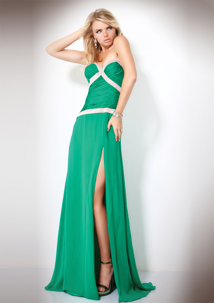 Green A Line Sweetheart Strapless Zipper Sweep Train Full Length Evening Dresses With Sequins And High Slit
