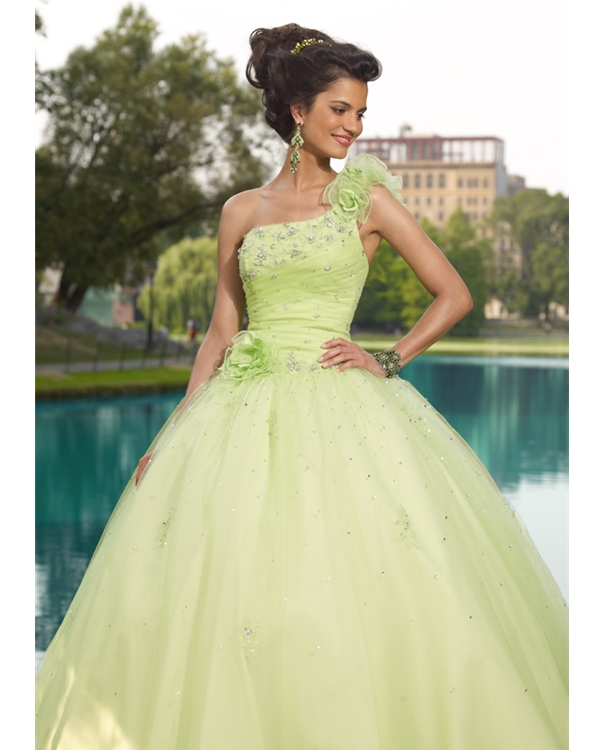 Sage Ball Gown One Shoulder Lace Up Full Length Quinceanera Dresses With Beading And Roses