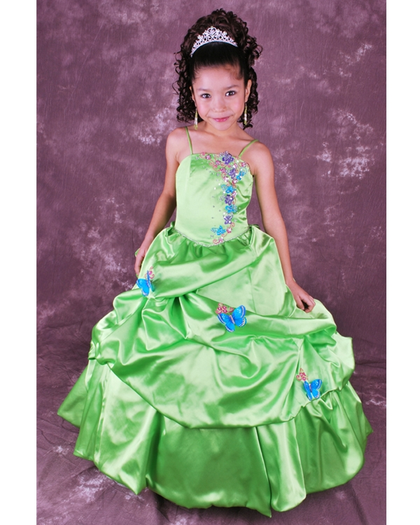 Kelly Ball Gown Spaghetti Straps Zipper Floor Length Flower Girl Dresses With Butterflies