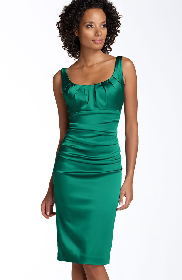 Green Column Square Neckline And Strap Zipper Knee Length Satin Prom Dresses With Twist Drapes