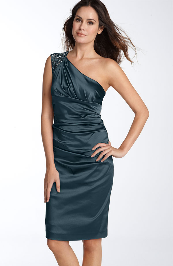 Dark Teal Column One Shoulder Knee Length Satin Prom Dresses With Beadings And Drapes