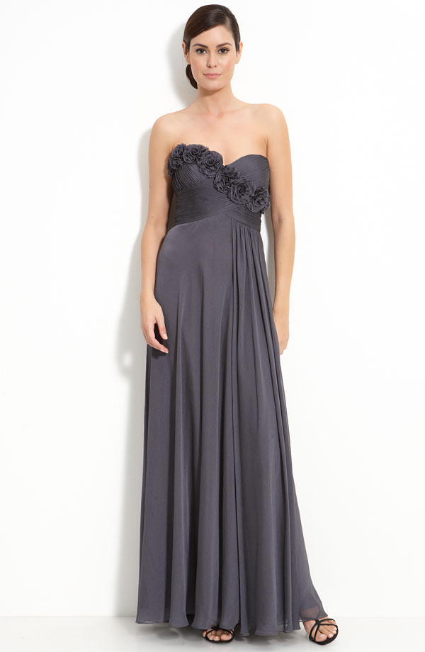 Dark Grey Empire Strapless Sweetheart Zipper Ankle Length Chiffon Prom Dresses With Rosette And Ruffles