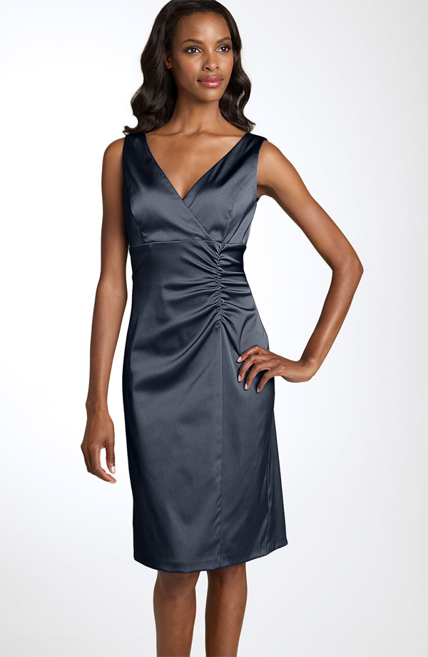 Dark Grey Sheath Column V Neck Knee Length Zipper Satin Bridesmaid Dresses