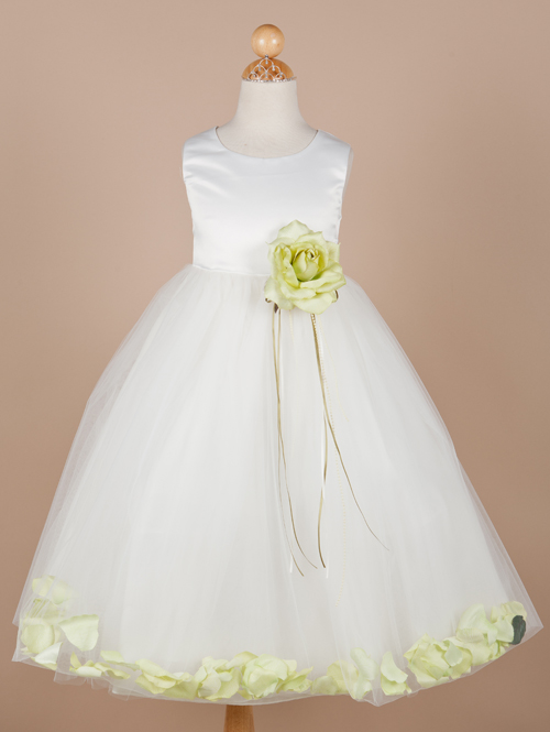 Ivory Bateau Tea Length A Line Flower Girl Dresses With Lemon Green Flowers