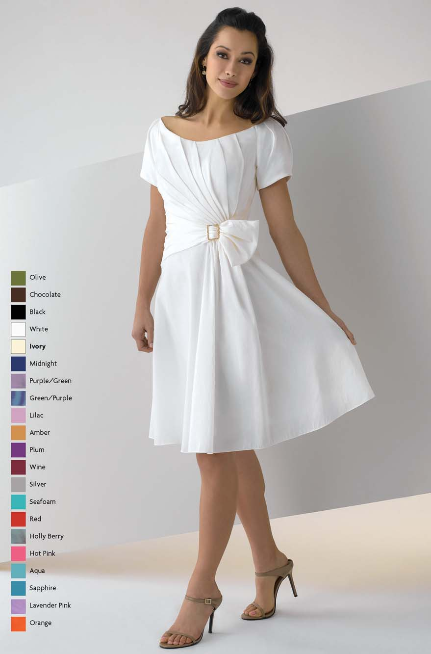White A Line Bateau Neck Zipper Knee Length Mother Of Bride Dresses With Bowknot