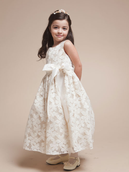 Ivory A Line Sleeveless Bateau Zipper Ankle Length Lace Flower Girl Dresses With Sash