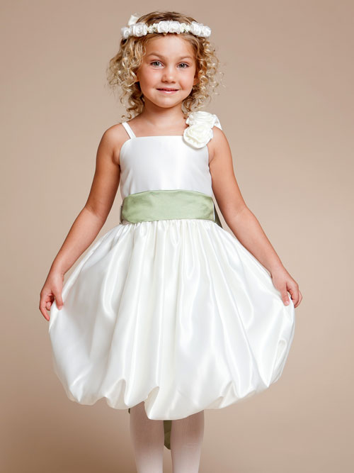Ivory Square Neckline Zipper Knee Length A Line Flower Girl Dresses With Rosette And Sage Sash