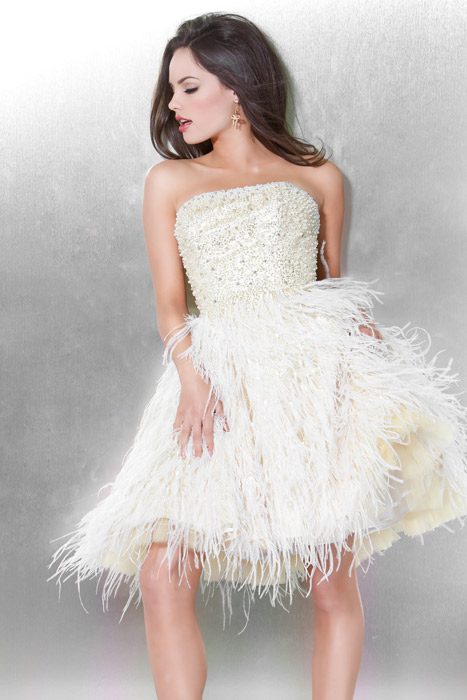 Ivory A Line Strapless Zipper Short Mini Cocktail Dresses With Beading And Feathers