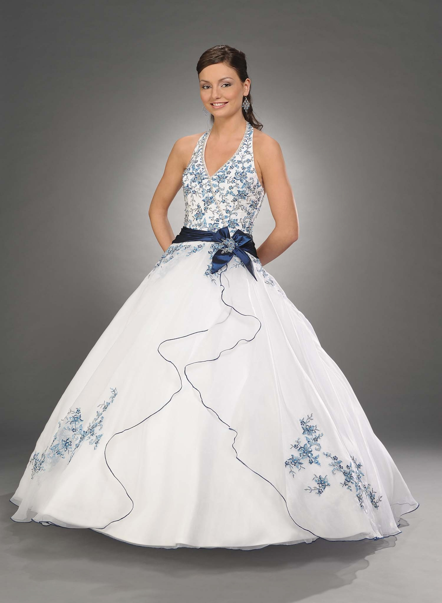 Ivory A Line Halter And V Neck Zipper Full Length Quinceanera Dresses With Navy Embroidery And Sash