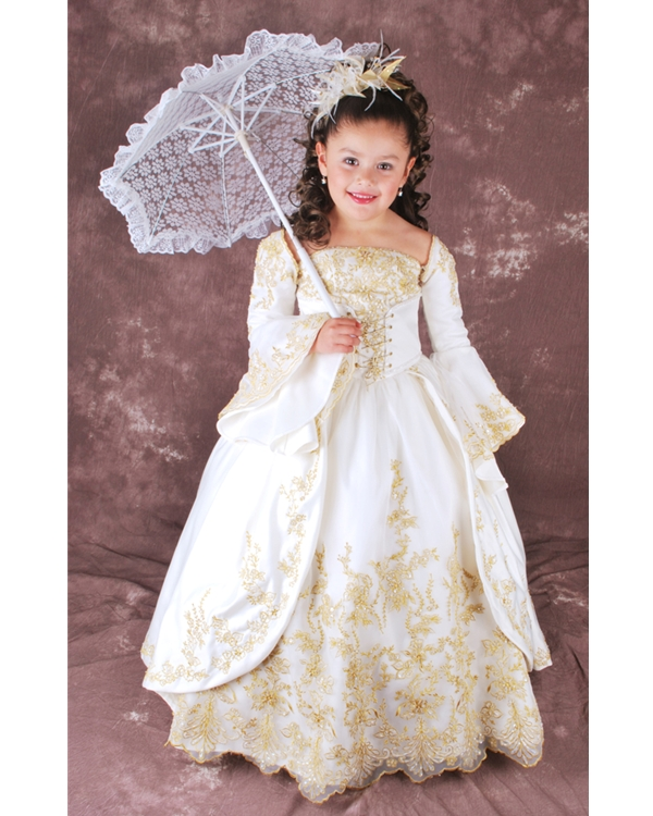 Ivory Ball Gown Square Neckline Long Sleeves Lace Up Floor Length Flower Girl Dresses With Gold Embroidery
